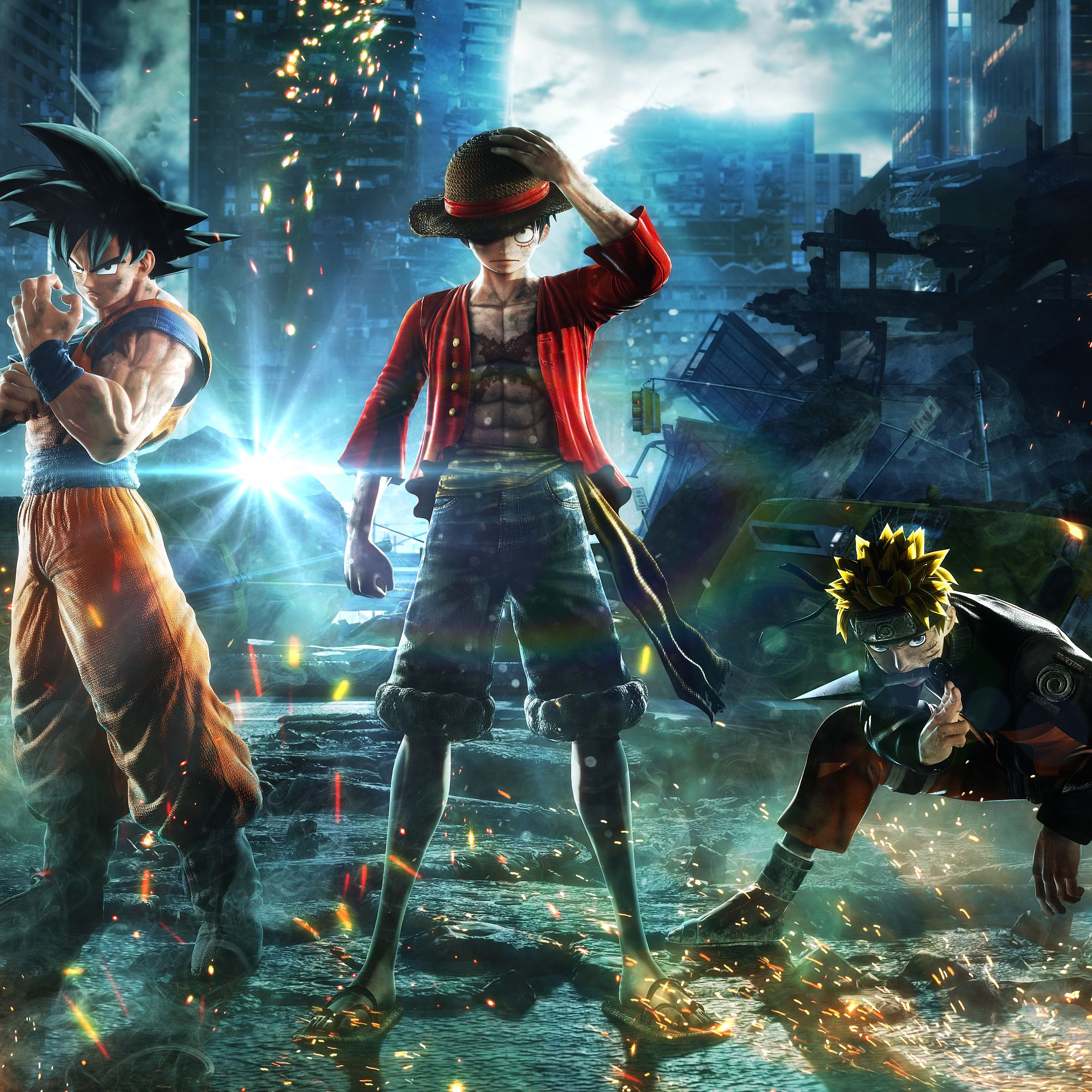 For the first time ever, the most famous manga heroes are thrown into a whole new battleground: our world. Uniting to fight the most dangerous threat, the incredibly popular characters of Jump Force will bear the fate of the entire human kind. Jump Force celebrates the 50th Anniversary of the famous Weekly Jump Magazine with an alliance of heroes from Dragon Ball, One Piece, Naruto and much more. Players will be able to create their three-character manga/anime dream tag team and take them into battle in hyper-stylish arena brawls set against backdrops of famous landmarks around the world including New York City's Times Square and the Matterhorn in the Alps.  <p> The lines that separate our world from the Jump world have been blurred, with evil forces spilling into the real world to rule over humanity. The greatest heroes known to manga/anime including Goku, Luffy, Naruto, as well as many others to be announced, must join together to triumph over the forces of evil seeping in from the Jump world.