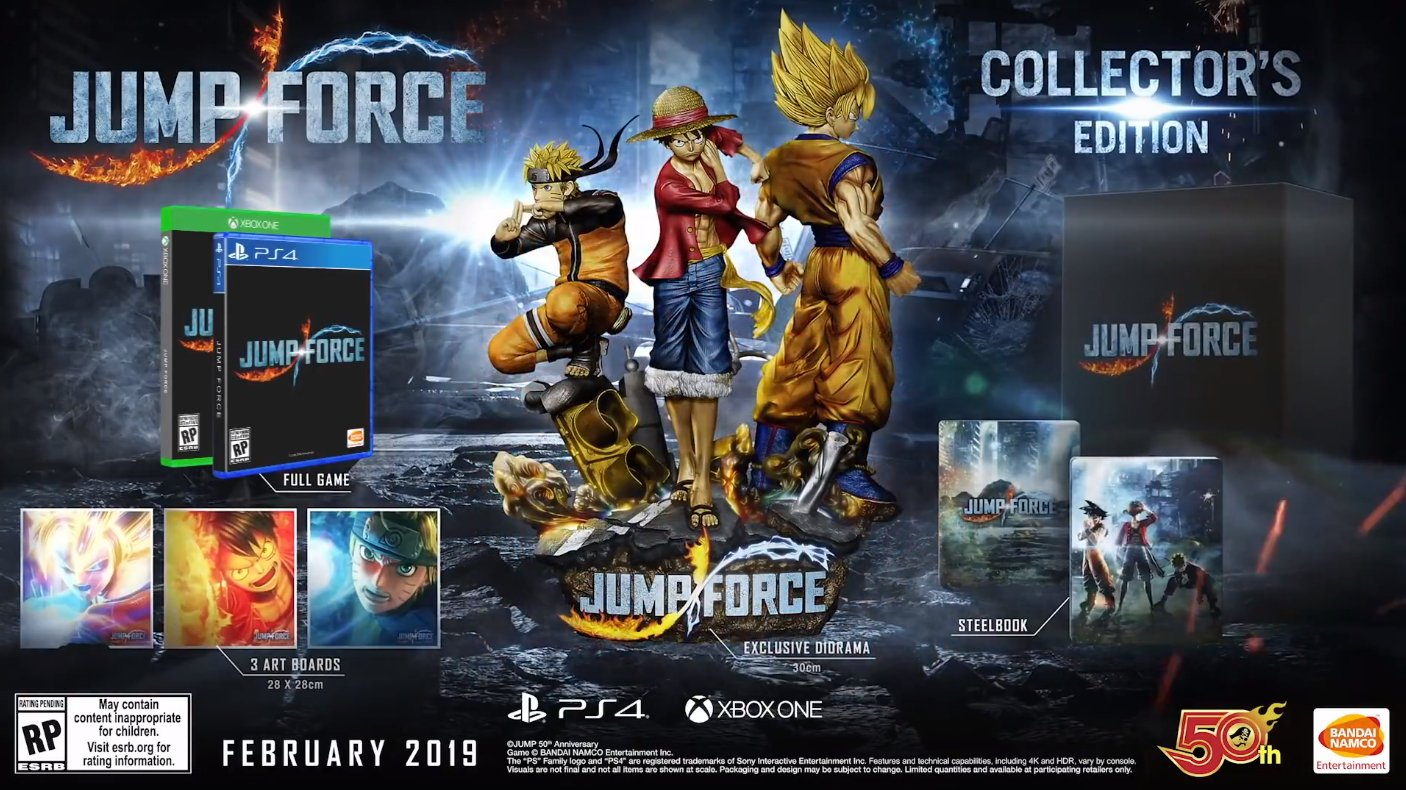 A $260 Collector's Edition includes a SteelBook case, a diorama featuring Goku, Naruto, and Luffy, three art boards, a physical copy of Jump Force, and several other exclusive items.