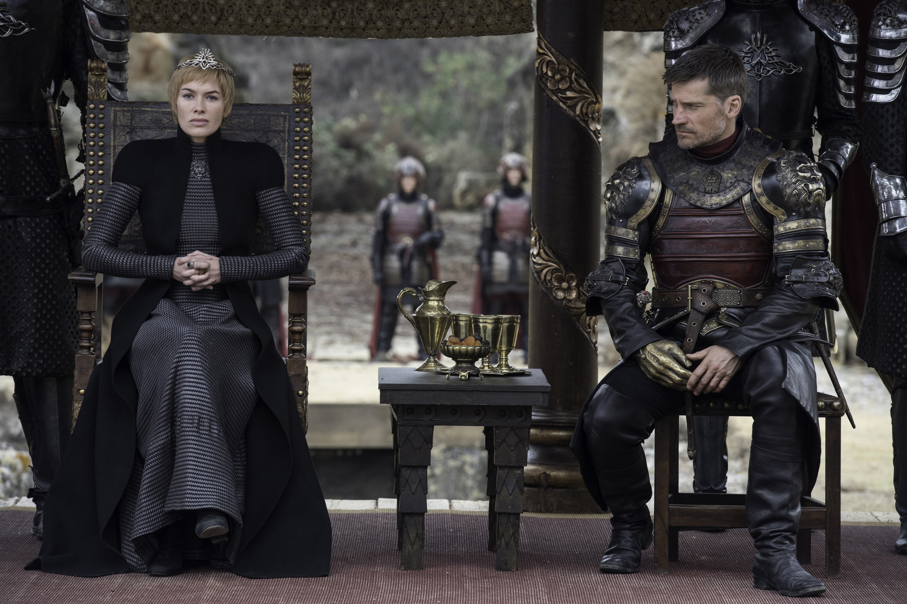 Lena Headey and Nikolaj Coster-Waldau as Cersei Lannister and Jaime Lannister